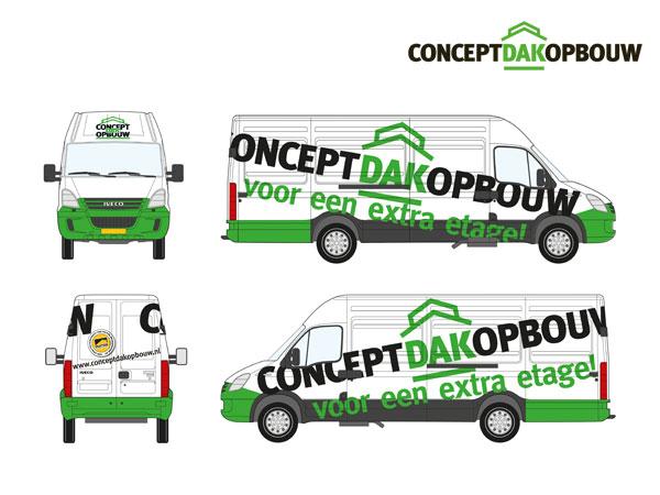 Concept Dakopbouw, Autobelettering