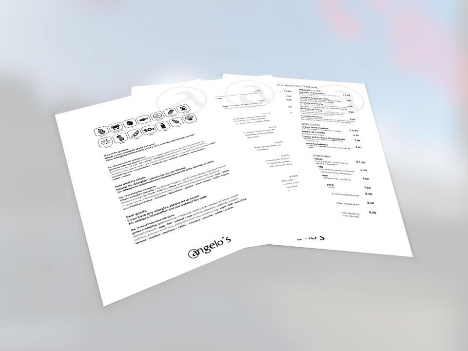 Angelo's, menukaarten (restyle)