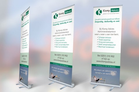 Klomp Advies, roll-up banner
